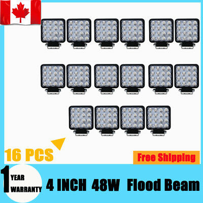 16X 4INCH 48W LED Work Light Flood Truck Driving Fog Lamp Square 4WD Jeep Boat