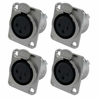 XLR Female Jack 3 Pin - Panel Mount Jacks D Series Size XLR-F - 4 PACK G6N4