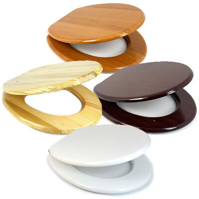 """17"""" Wooden Toilet Seat: 4 Colour (MDF Universal Bathroom Easy Fit WC Lid)"""