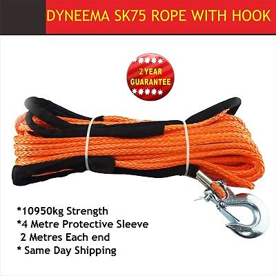 Dyneema Winch Rope 10mm 30m Synthetic hook Tow Recovery Cable Wire Orang