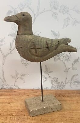 Driftwood Seagull ~ Bird on Post with Metal Detail 28cm 4819