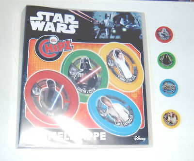 STAR WARS CHIPZ Sammelmappe + 4 Chips von 2017 .Neu!