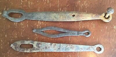 Old Antique Vtg Hand Forged Iron Barn Door Hasp Latch Hardware Part Lot Of 3