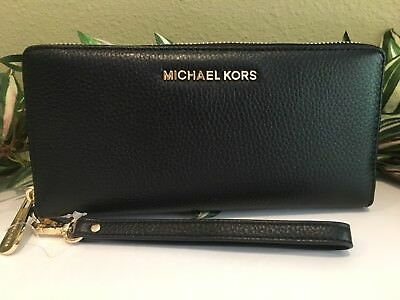 Michael Kors Jet Set Travel Continental Wallet Wristlet Black Leather Gold $188