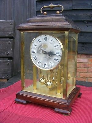 Very pretty Vintage Brass And Glass  Mahogany  Bracket  Mantle Clock