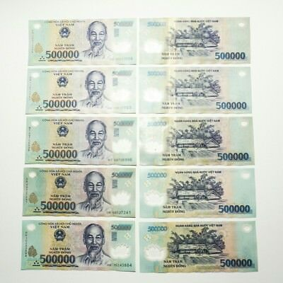 Vietnamese Dong 1,000,000 (VND) - (2) 500,000 Notes - Circulated great condition