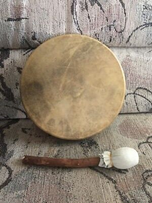 "$250 Native American 10"" Hand Made Raw Animal Hide Drum With Beater - NEW"