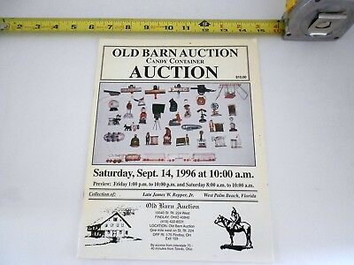 September 14, 1996 OLD BARN AUCTION Candy Container AUCTION catalog