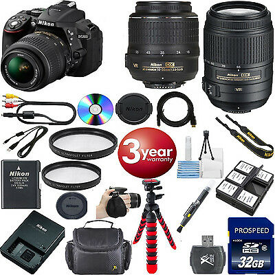 Nikon D5300 24.2 MP Digital SLR+ NIKON 18-55mm VR + 55-300mm VR LENS BUNDLE KIT!