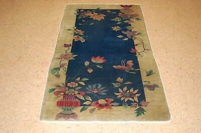 Circa 1920s ANTIQUE  ART DECO WALTER NICHOLS CHINESE RUG 3x5.7 VEGETABLE DYE