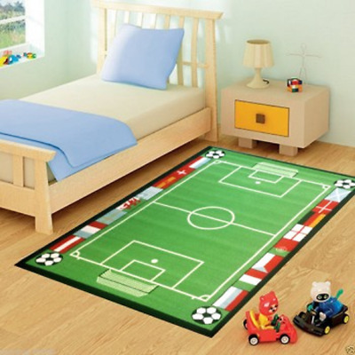 Childrens / Kids FOOTBALL FIELD Rug Mat Modern Design Play Mat Nursery Non Slip