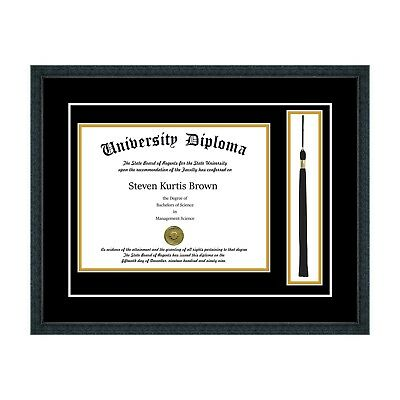 NEW DIPLOMA FRAME with Tassel and Double Matting School Colors UV ...