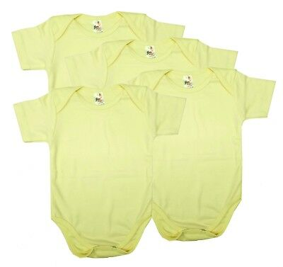 a7aa75f46c7af5 Newborn Baby Girl Bodysuit Clothes Lot Yellow Pack of 4 Plain Blank 3 6 9  Months
