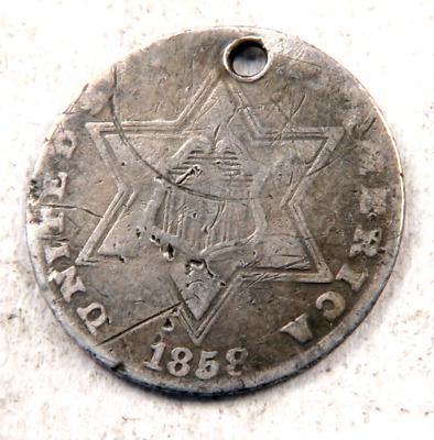1858 SILVER Three Cent Coin (3 Cent) // (ST411)