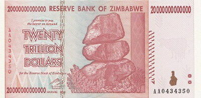 Zimbabwe 20 Trillion Dollars, AA/2008 UNCIRCULATED (MINT)