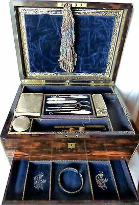 Antique Travel Sewing Chest Box Wood Walter Thornhill Sterling Thomas Johnson