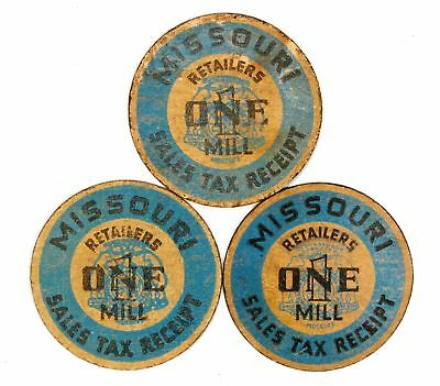 Lot of 4 Missouri Mills Sales Tax Receipt Tax Tokens #118397 R