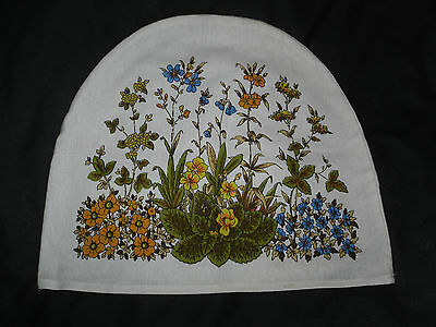 1970s TEA COSY Case Vintage RETRO WHITE LINEN ORANGE BLUE FLOWERS TEA PARTY