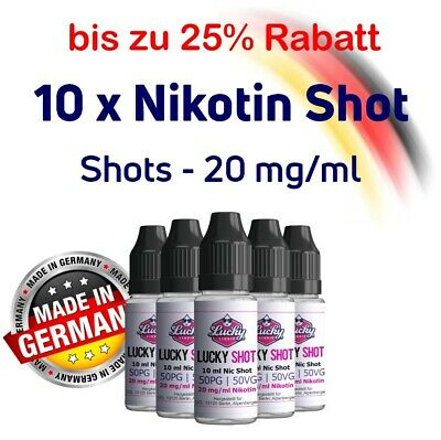 10x 10 ml Nikotin Shot VBG 50/50 70/30 - 20 mg Base für Liquid shake vape Shots