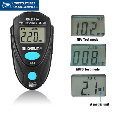 Automotive paint & coating thickness tester digital LCD display 2.2mm/86mil
