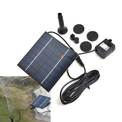 Fountain Water Pump + Solar Power Panel Kit For Pool Garden Submersible Watering