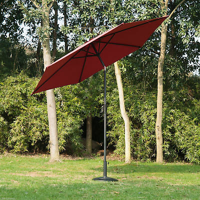 Outsunny 9' Alu.Patio Umbrella Garden Parasol Sunshade w/ Crank Tilt Wine Red