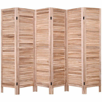 "6 Panel Room Divider Furniture Classic Venetian Wooden Slat Brown 67"" High Home"
