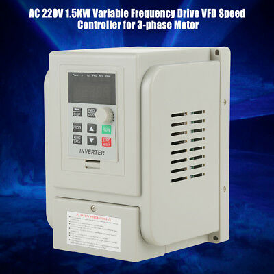220V 2HP 1.5KW Single Phase To 3 Phase Output Frequency Converter VFD VSD New