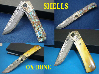 Beautiful Sharp Damascus Blade Ox/Colorful Shell Handle Gift Camp Hunting Knife