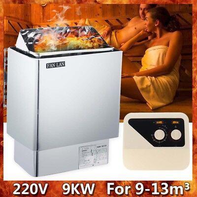 FAN LAN 220V 9KW Sauna Heater Stove Wet Dry Stainless Steel External Control