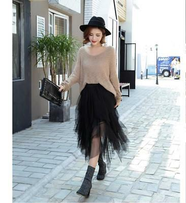 Fashion Elastic High Waist Long Tulle Skirt For Women Irregular Hem Mesh Attires