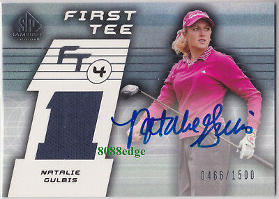2003 Sp Game-Used First Tee Auto: Natalie Gulbis #466/1500 Autograph Worn Swatch