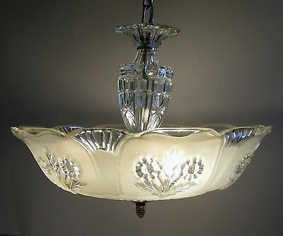 Antique Art Deco Glass Vtg Ceiling Light Fixture Shade Chandelier Mid Century