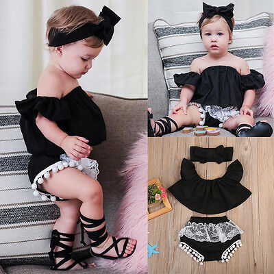 US Newborn Kids Baby Girl Off Shoulder Top Tank+Shorts Pants Outfit Clothes Set