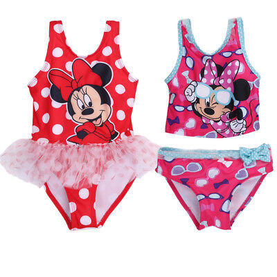 Baby Girls Kids Minnie Mickey Mouse Summer Bikini Set Swimwear Bathing Swimsuit