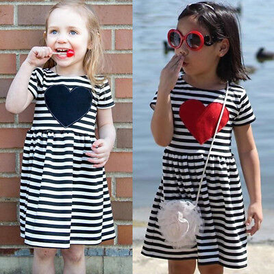 Fashion Baby Girls Kid Summer Dress Short Sleeve Dresses Outfit Sundress Clothes