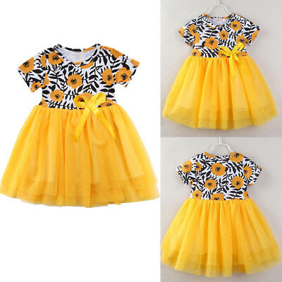 Baby Girls Summer Bow Dress Kid Party Wedding Pageant Formal Dresses Sundress BB