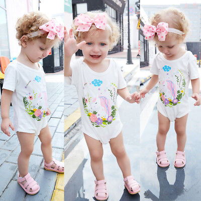 US Newborn Baby Girls Unicorn Romper Bodysuit Jumpsuits Outfits Sunsuits Clothes