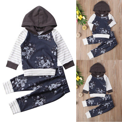 Newborn Baby Girl Boy Infant Hooded T-shirt+Floral Pants Outfit Clothes US Stock