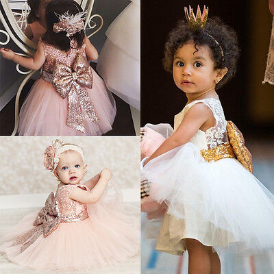 US Baby Flower Girls Sequins Tulle Dress Princess Party Wedding Bridesmaid Dress