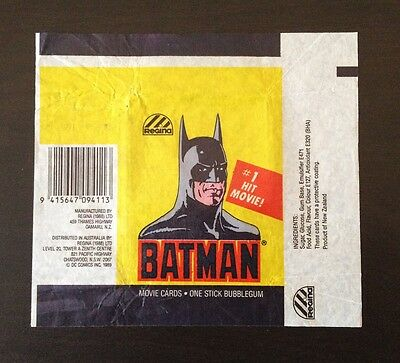 1989 Regina NZ Batman (The Movie) - Wax Pack Wrapper (Batman Variation)