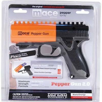 Mace Black & Orange Pepper Gun 2.0 w/7 Bursts & 20' Range And Picatinny Rail