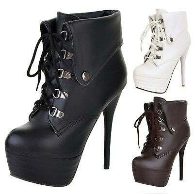 Lace Up Ankle Boots Vintage Womens Leather Platform High Heels Shoes UK 0-8