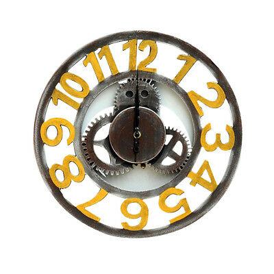 Battery Operated Vintage Wooden Wood Gear Wall Clock Large Round Clock Craft