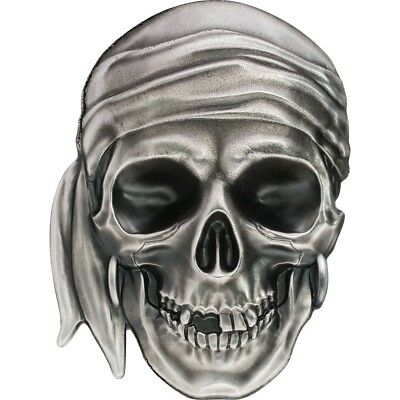 Skulls - Pirate Skull $5 1oz Pure Silver Coin - Palau 2017