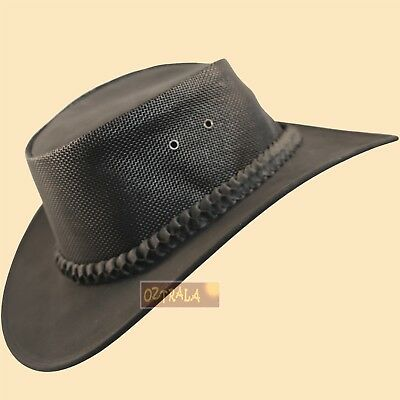 ● SALE Kangaroo LEATHER Hat Jacaru Mens Australian Western Cowboy Golf Black NEW