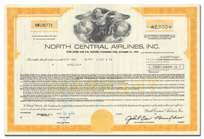 North Central Airlines, Inc. Bond Certificate (Minneapolis)