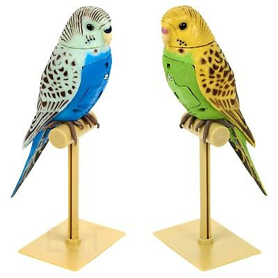 Singing Parakeet Fake Pet Toy Moving on Stand Bird Budgie Buddy Cage Finger