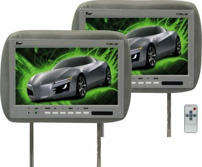 """Pair Of TView T110PL Gray Car Video 11.2"""" Headrest Monitors + 2 Remotes"""