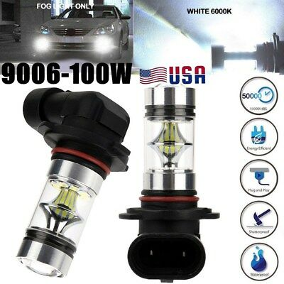 2x Super Bright White 9006 led HB4 High Power 2323 100W DRL Fog Light Bulbs US